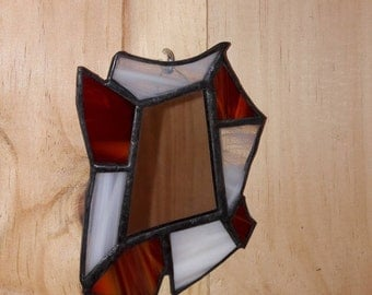 MIRROR - stained glass Tiffany - red and white