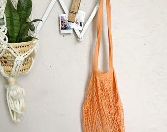 Orange woven market bag, beach string grocery sack, eco friendly