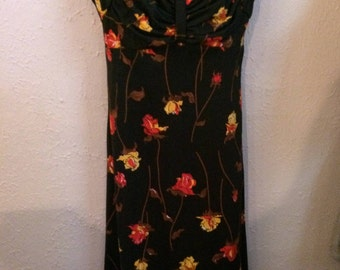 Vintage 1970s Hostess Dress Gown Black Floral Orange Brown Yellow Polyester Full Length Empire Waist  ILGWU Union Tag USA
