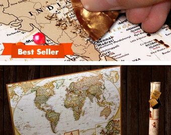Paper Anniversary Gift for him - scratch off map with push pins.