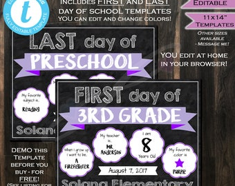 First & Last day of School 2-in-1 Chalkboard - Sign- Any Color- Any School Year- Personalize Custom- Digital Printable INSTANT Self-EDITABLE