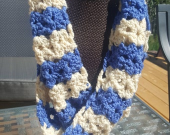 Crochet blue and white infinity scarf