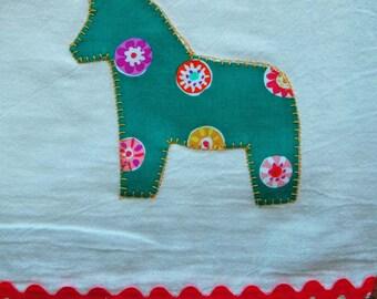 Dala Horse Dishtowel for kitchen with Swedish style - Teal mod print