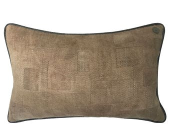 Antique English Grain Sack Pillow  -  22 x 14""