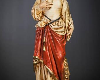 "St Catherine of Alexandria Statue | Saint Catharine Figure | Vintage Polychromed Plaster | RARE Antique | 16"" Large"