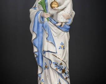 "St Joseph with Child Jesus Statue | Saint with Baby Christ Figure | Antique Bisque Porcelain Figurine | 19"" Large"