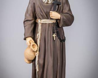 "12"" Saint Conrad of Parzham Polychromed Plaster Statue Vintage St Figure"