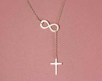 Infinity cross necklace sterling silver cross infinity necklace meaningful necklace infinity cross lariat necklace cross infinity lariat