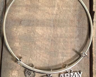 US Army Bangle Charm Bracelet, Army Wife, Army Logo, US Military, Wife, Army Support, Support Our Troops