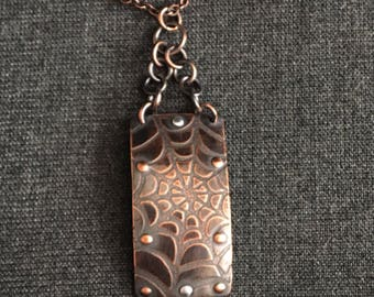 Spider Web Copper Riveted Pendant and Antiqued Chain