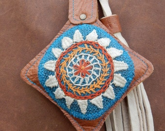 Leather bag charm hand-embroidered