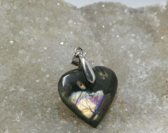 LABRADORITE gold and Black Brown 14.56 Gr-heart pendant