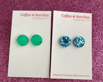 Mix 'n' Match ~ Green Mirror and Blue Glitter Stud Earrings