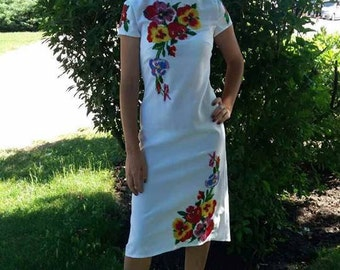 Embroidered beads dress Ukrainian embroidery Vyshyvanka dress Embroidered white dress Beaded dress Modern embroideryColorful Ukrainian dress