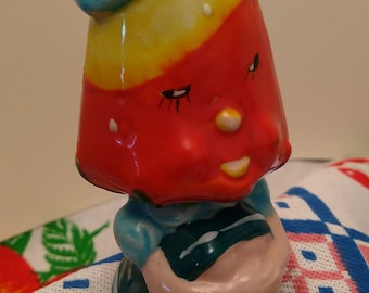 Mismatched Novelty Salt & Pepper Shakers, Anthropomorphic Strawberry Lady and Honolulu Souvenir Elephant