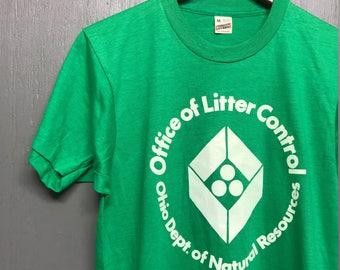 S nos thin vintage 80s 1984 Litter Control Ohio Screen Stars t shirt