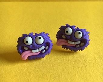 Purple Monster Earrings