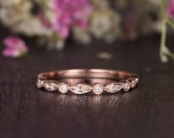 Rose Gold Art Deco Wedding Band Women Diamond Antique Wedding Ring Half Eternity Retro Stacking Anniversary Promise Engraving Band Milgrain