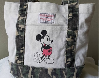 Mickey Mouse Vintage bag . 100% cotton bag, market bag . globetrotting Mickey and Minnie bag by Disney official