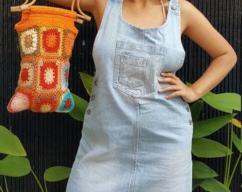 Orange Cotton drawstring bag/purse, Orange Hippy festival bag, Orange Boho gypsy bag, Eco friendly cotton shoulder bag, Knit Red unique bag