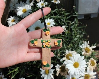 Pink Beads and Orange roses Faux Wooden Christian Cross Ornament Polymer Clay-Easter, Christmas, Birthday, Confirmation, Communion gift
