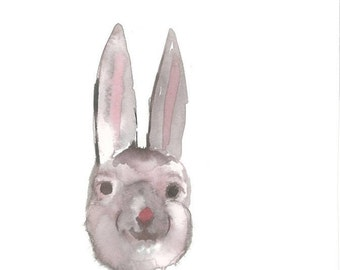 Nursery Art/ Bunny/Nursery Decor/Watercolor Art/illustration/children's room/Gender Neutral/painted/Easter/spring/child/woodland animal