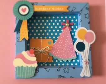 Birthday Card, 3D Card, Special Birthday Card, Birthday Card Handmade - Shadow Box Card