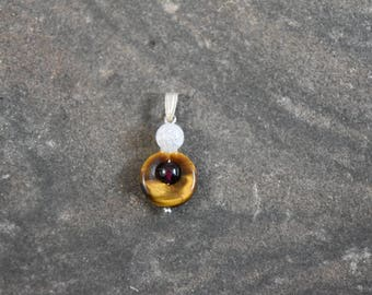 Unique Healing Tiger Eye and Quartz Pendant with sterling silver (Jewelry that is Handmade in Canada)