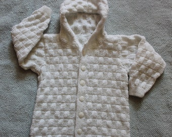Hand Knitted Baby Sweater/knit baby sweater/ baby sweater sale /newborn sweater/ Sweater with hood