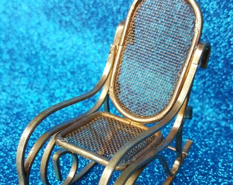 Vintage Brass Doll Rocking Chair