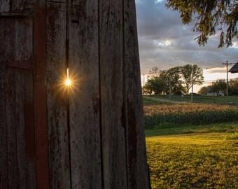Red Barn at Sunset - Rustic, Barn, Sunset, Farm, Sunstar, Cornfield - Photographic Print
