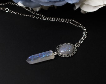 Gathiel magic crystal pendant, necklace with magic crystal transparent ice blue glitter, Elven fairy fantasy lucky charm necklace