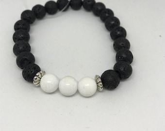 Natural Lava Rock and White Jade Bracelet, Handmade
