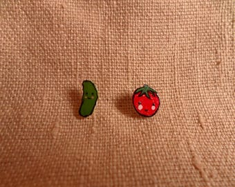Tiny Mismatch studs, Veggie jewelry, vegetable earrings, fake food earrings, kawaii veggie, cute veggies, cucumber earrings, tomato earrings
