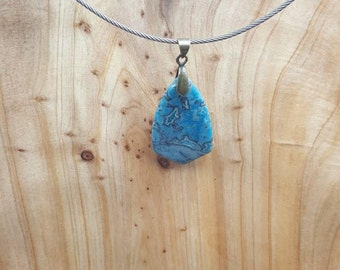 Blue Crazy Lace Agate cable wire necklace