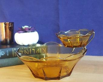 Vintage Honey Gold colored glass Anchor Hocking chip & dip set
