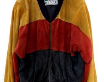 DENNIS, jacket, bomber, multicolour, 100% leather, M/L, vintage, oversized