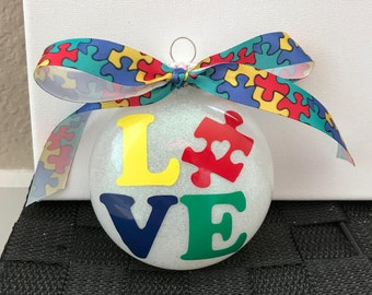 Autism Love Puzzle Piece Ornament--Medium