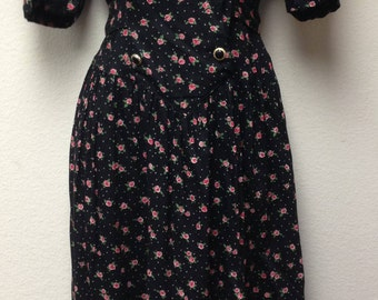 1980's Sarin New York Floral Vintage Dress Size Small Made in India