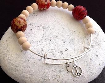 Hippie Bracelet, Peace sign bracelet, Boho bangle, Wooden bead bracelet, Unisex hippie, Hippie gift, 70's style jewelry, Woodstock bracelet