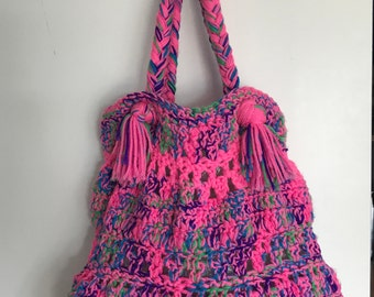 Large Neon Multi-Colored Tote Bag/ Shopper   Hand Knitted