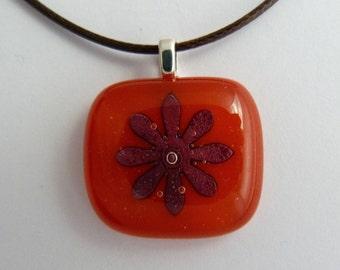 Fused glass orange flower pendant