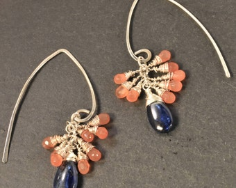 Colorful Orange Carnelians and Deep Blue Kyanite Drops, all Hand Wire Wrapped in Sterling Silver makes a Lovely dangle Earring