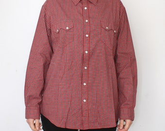 vintage Western shirt for men - men's pearl snap button up shirt - checkered pattern - gingham red blouse long sleeves - Atlas men - size L