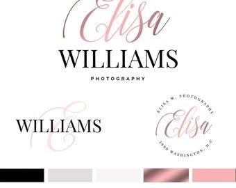 Branding Kit Template, Photography Logo, Photographer Logo, Branding Kit, Rose Gold Logo, Premade Logo, Psd Logo, INSTANT DOWNLOAD, DIY Logo