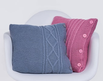 Decorative knitted pillows, Hand knitted cushions Kit, Rustic home decor, Scandinavian knit cushions