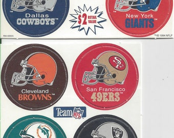 Official NFL Milk Caps (1994): Cowboys, Giants, Browns, 49ers, Dolphins, & the Raiders - rare and unpunched!