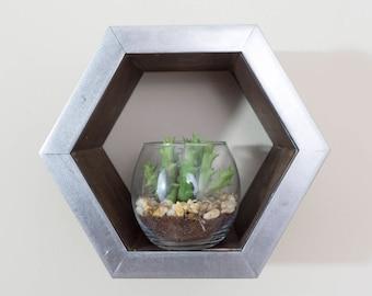 "Hexagonal Shelves 8"" Floating Shelves Hexagon Shelf with Brushed Metal Frame Cherry Wood Geometric Shelf Honeycomb Shelves Hexagon Shelves"