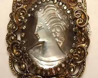 Antique Mother of Pearl Cameo Brooch