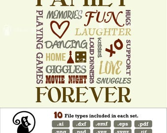 Family sayings svg, family forever, family word collage, ai dxf emf eps pdf png psd svg svgz tif files for cricut, silhouette, brother
